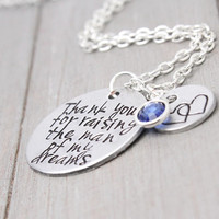 Man of My Dreams Necklace, Mother In Law Necklace, Mother In Law Gift, Handstamped Necklace, Personalized Jewelry