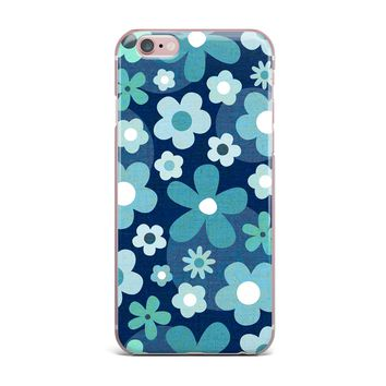 """Daisy Beatrice """"GROOVY BABY - INDIGO-MINT"""" Blue White Floral Pattern Mixed Media Vector iPhone Case"""