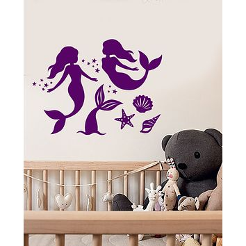 Vinyl Wall Decal Cartoon Mermaid Fish Tail For Girl's Room Stickers (3577ig)