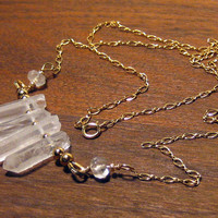 Quartz Point Necklace 14K Gold Filled Bohemian Jewelry