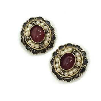 Sterling Vermeil & Pearl Earrings, Oxidized 950 Sterling Carnelian Earrings, Beaded Sterling, Israeli Jewelry, Vintage Jewelry
