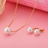 45cm Gold Plated White Pearl Choker Necklace and Earring Jewelry Set