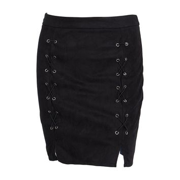 Fashion Women Ladies Clothing Skirts High Waist Lace Up Suede Leather Pocket Preppy Short Mini Skirt New Women