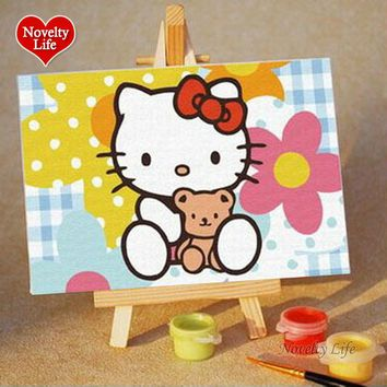 Noveltylife DIY Oil Painting By Numbers Cartoon Small Picture Easel Children Home Decor Canvas Paint Kid Bed Room Living 10x15cm