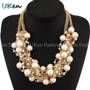 Fashion Women Maxi Necklaces Golden Chain String Imitation Pearls Beads Crystal Collar Chokers Chunky Necklaces & Pendants