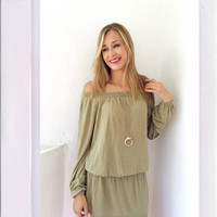 Chantilly Off The Shoulder Dress- Olive