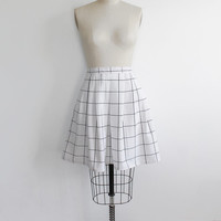 Vintage 80s Grid Print Pleated Circle Skirt | medium 8
