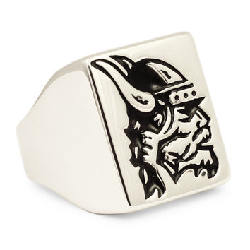 Sterling Silver Thor Viking Warrior in Horned Helmet - Norseman Viking Ring