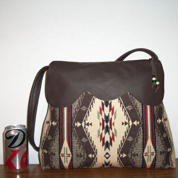 Wool Purse Shoulder Bag Brown Leather Spirit of the People Wool from Pendleton Oregon