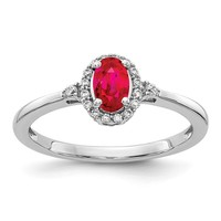 14k White Gold Genuine Oval Ruby and Diamond Halo Ring