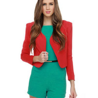 Stylish Red Blazer - Cropped Blazer - Red Jacket - $48.00