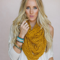 SALE Lace Knit, Infinity Scarf, Fashion Knitted Scarf, Mustard Yellow, Women's Fashion Scarves for Fall (SCF-3912)