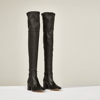 LEATHER OVER THE KNEE HIGH HEEL STUDIO BOOTS DETAILS