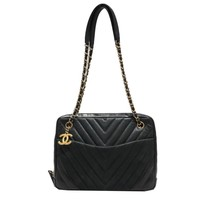 CHANEL V Stitch Shoulder Bag Sheep leather (lamb) Black