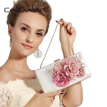 CellDeal High Quality Patent Leather Handbag Satin Flower Evening Bags Elegant Women's Party Clutch Wedding Pearl Beaded Clutch