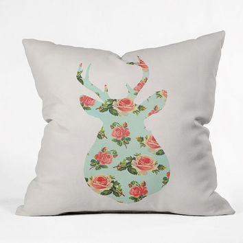 Floral deer Throw Pillow / southern girl / preppy / floral deer / buck / southern style / cute floral deer / girly / pink / deer pillow