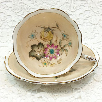 Paragon Tea Cup and Saucer, Tan Fawn Buff, Pink Yellow & Blue Flowers, Shabby Chic China, English Bone China, 1940s Vintage Porcelain