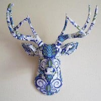 Doozey Blue Deer Head wall mount by hclaire on Etsy