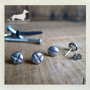Screwed Up Post Earrings Set  Silver Phillips by PickleDogDesign