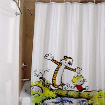 calvin and hobbes, special custom, shower curtains, available size, amazing gift