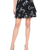 Pitch Black Windsw Windswept Words Silk Skirt by Juicy Couture,