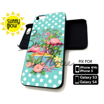 Pink Vintage Flamingo - iPhone 4/4s and 5 Case - Samsung Galaxy S3 and S4 Case - Black or White