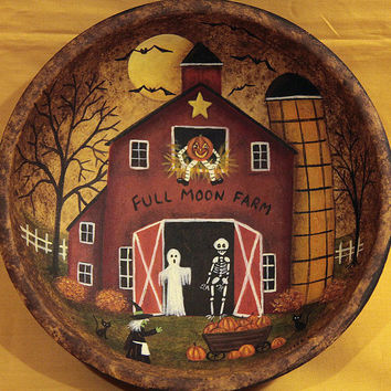 Folk Art Halloween Hand Painted Wood Bowl - MADE TO ORDER - Full Moon - Farm Primitive Red Saltbox Barn Ghost Skeleton Witch Pumpkins Bats