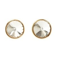 Gold Oversized Crystal Stud Earrings by Charlotte Russe