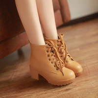 Lace Up Women Ankle Boots Round Toe Platform High Heels Shoes Woman 3364