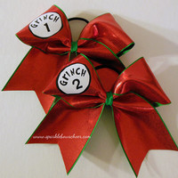 Grinch 1 and Grinch 2 Large Cheer Bow Hair Bow Cheerleading