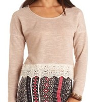 Lace-Trimmed French Terry Crop Top by Charlotte Russe - Oatmeal