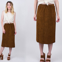 vintage 90s chocolate brown faux suede midi skirt high waist pencil skirt minimalist boho hippie retro a line