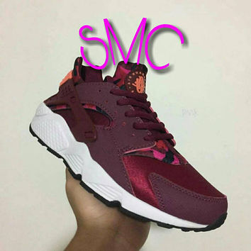 Nike Air Huarache painted Shoes orange Painted Loop Logo Maroon bands painted Camouflage Women's shoes Customized Sneakers