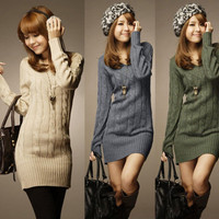 Fashion Casual Women Sweater Jumper Long Top Mini Dress V-neck Pullover Tops