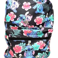 "Disney Lilo and Stitch Allover Print Black 16"" Girls Large School Backpack-black"