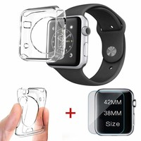 Apple Watch iWatch Series 3 2 1 38/42mm Tempered Glass Screen Protector+PC Case