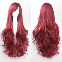 Wine Red Anime Wig Loose Wave Wig Curly Wig