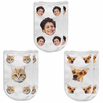 Your Face Printed on Socks -  People or Pet Faces Custom Printed on No Show Socks