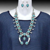 Silver And Turquoise Squash Blossom Necklace Set