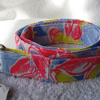 New Handmade Belt of Lilly Pulitzer Fabric - 43 Inches Blue Pelican Print