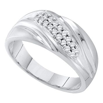 10kt White Gold Men's Round Pave-set Diamond Diagonal Double Row Wedding Band 1/4 Cttw - FREE Shipping (US/CAN)