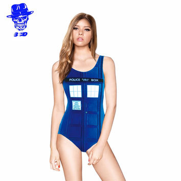 Blue Swimwear Police Post Women bikini Sexy Bikini Police Station Bikini Bodysuit WOMAN SWIMSUIT Digital Printing