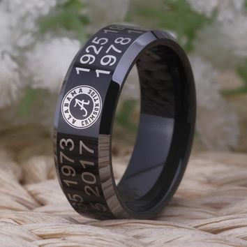 Black With Shiny Edges Alabama Crimson Tide Tungsten Ring Mens