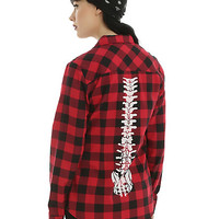 Red & Black Plaid Spine Back Girls Woven Button-Up