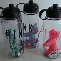 Pink By Victoria's Secret Water Bottle with Mini Solid Plush Dog Set of 3 Pink, Light Green, Light Purple