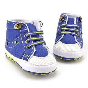 Blue Casual Newborn Baby Boy Shoes Kids First Walkers Infant Toddler Canvas Soft Sole