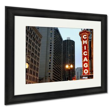 Framed Prints, Chicago Sign Wall Art Decor Giclee Photo Print In Black Wood Frame, Soft White Matte, Ready to hang, 16x20 Art