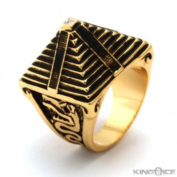 Han Cholo Gold Mayan Pyramid Ring