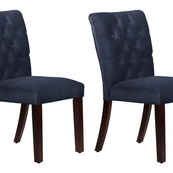 Navy Velvet Croft Side Chairs, Pair, Dining Chair Sets