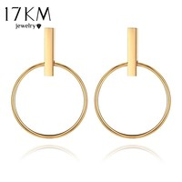 17KM Gold Color Geometric Circle Round Hoop Earrings for Women Brincos 2017 Steampunk Style Women Party Jewelry Accessories